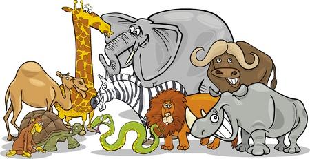 serpiente caricatura: Ilustración de dibujos animados divertido del Grupo Africano Safari Wild Animals Vectores