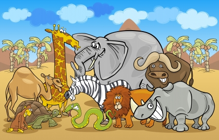 Cartoon Illustration of Funny Safari Wild Animals Group against Blue Sky and African Landscape Vector