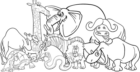african safari: Black and White Cartoon Illustration of Funny African Safari Wild Animals Group for Coloring Book