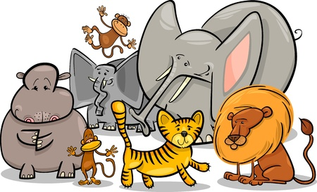 Cartoon Illustration of Cute African Safari Wild Animals Group Stock Vector - 17357052