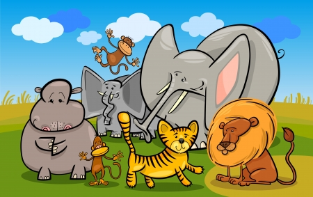 Cartoon Illustration of Cute African Safari Wild Animals Group against Blue Sky Vector