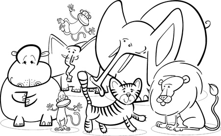 tiger page: Black and White Cartoon Illustration of Cute African Safari Wild Animals Group for Coloring Book Illustration