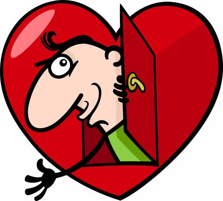 blissful: Cartoon St Valentines Illustration of Funny Man in Love in Big Heart or Valentine Card Illustration