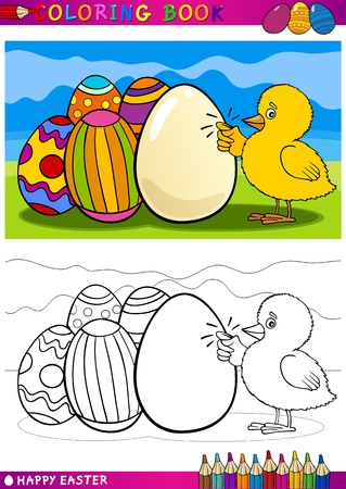 comic book character: Coloring Book or Page Cartoon Illustration of Easter Little Chick or Chicken knocking on egg and Painted Eggs