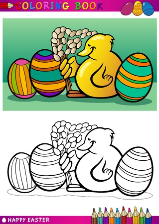 Coloring Book or Page Cartoon Illustration of Easter Little Chick or Chicken with Catkin and Painted Eggs Vector