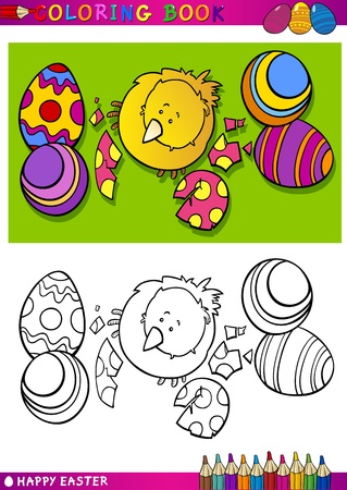 Coloring Book or Page Cartoon Illustration of Easter Little Chick or Chicken hatched from Egg and Painted Easter Eggs Vector