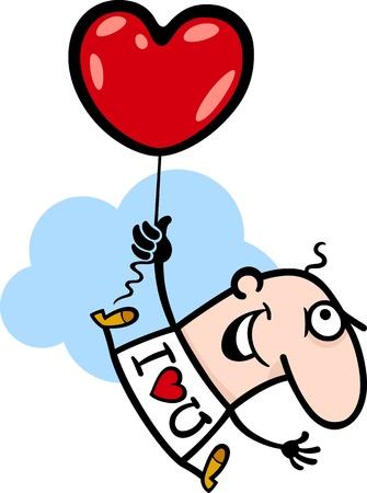 te amo: Ilustración de la historieta del hombre divertido volar con globos en forma de corazón para San Valentín Día de San Valentín