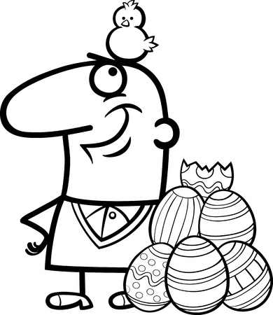 Black and White Cartoon Illustration of Happy Man with Easter Chicken or Chick Hatched from Colored Egg Vector