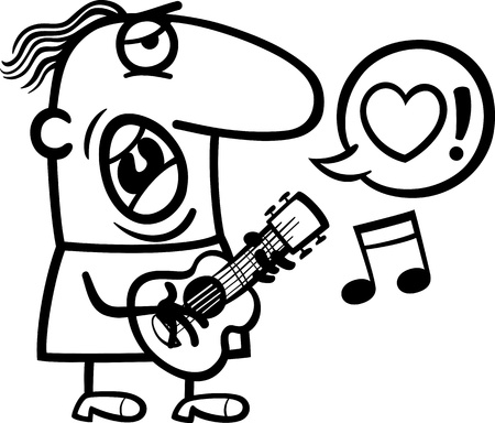 Black and White Cartoon Illustration of Funny Man Playing on the Guitar and Singing Love Song for Valentines Day Vector