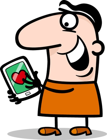 Cartoon Illustration of Funny Man Reading Love Message or Valentine on his Tablet PC for Valentines Day Stock Vector - 17475572