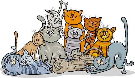 moggie: Cartoon Illustration of Happy Cats or Kittens Group