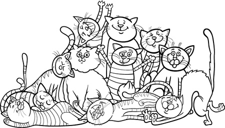 moggie: Black and White Cartoon Illustration of Happy Cats or Kittens Group for Coloring Book or Coloring Page