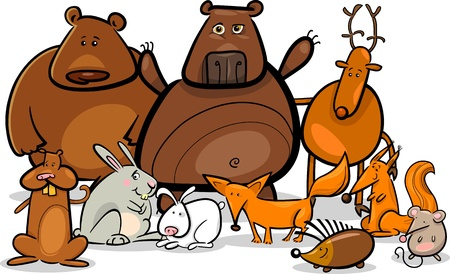 Cartoon Illustration of Funny Forest Wild Animals like Bears, Hedgehog, Deer, Hare and Fox Vector