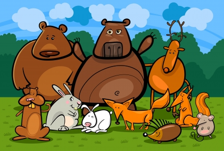 Cartoon Illustration of Funny Forest Wild Animals like Bears, Hedgehog, Deer, Hare and Fox against Forest, Meadow and Blue Sky Vector