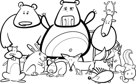 Black and White Cartoon Illustration of Funny Forest Wild Animals like Bears, Hedgehog, Deer, Hare and Fox for Coloring Book Vector