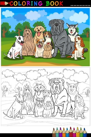 page long: Cartoon Illustration of Funny Purebred Dogs like Bull Terrier, Collie, Bulldog, Maltese, Beagle, Spaniel and Husky for Coloring Book or Coloring Page