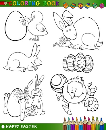 Easter Themes Collection Set of Black and White Cartoon Illustrations for Coloring Book Vector