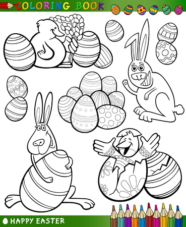Easter Themes Collection Set of Black and White Cartoon Illustrations for Coloring Book Stock Vector - 17560076