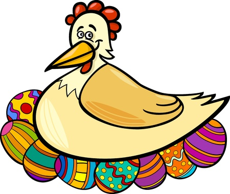 Cartoon Illustration of Funny Farm Hen Hatching Easter Eggs Stock Vector - 17560068
