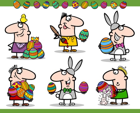 chicken cartoon: Cartoon Illustration of Happy Men Easter Themes with Bunny, Chicken or Chick and Colored Eggs