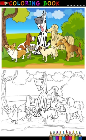 page long: Cartoon Illustration of Funny Purebred Dogs like Corgi, Pug, Basset, Chihuahua and Afghan Hound for Coloring Book or Coloring Page Illustration