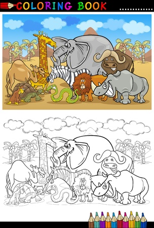 illustration zoo: Cartoon Illustration of Funny Safari Wild Animals like Elephant, Rhino, Lion, Zebra, Giraffe and Monkey for Coloring Book or Coloring Page