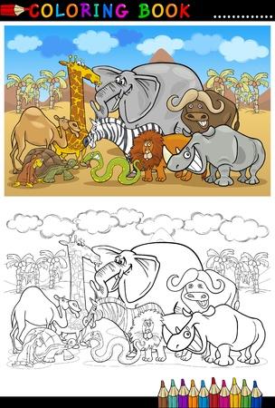 montañas caricatura: Ilustración de dibujos animados de Humor Animales de Safari Salvaje como elefantes, rinocerontes, leones, cebras, jirafas y Mono para colorear libro o Página para colorear Vectores