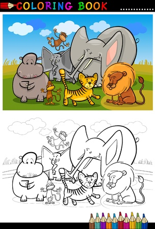 Cartoon Illustration of Funny African Wild Animals like Elephant, Hippo, Lion and Monkey for Coloring Book or Coloring Page Vector