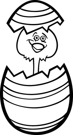 Black and White Cartoon Illustration of Funny Little Chicken or Chick in Colorful Eggshell of Easter Egg for Coloring Book Vector
