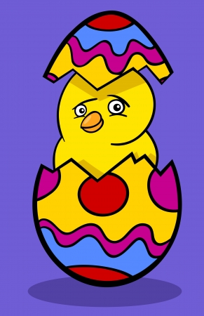 Cartoon Illustration of Funny Little Yellow Chicken or Chick in Colored Eggshell of Easter Egg Stock Vector - 17560090