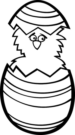 coloring easter egg: Black and White Cartoon Illustration of Funny Little Chicken or Chick in Colorful Eggshell of Easter Egg for Coloring Book Illustration