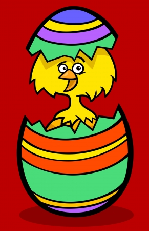 Cartoon Illustration of Funny Little Yellow Chicken or Chick in Colorful Eggshell of Easter Egg Stock Vector - 17560091