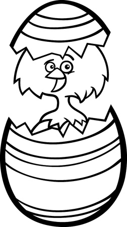 Black and White Cartoon Illustration of Funny Little Chicken or Chick in Colorful Eggshell of Easter Egg for Coloring Book Stock Vector - 17560083