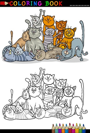 meow: Cartoon Illustration of Happy Cats or Kittens Group for Coloring Book or Coloring Page Illustration
