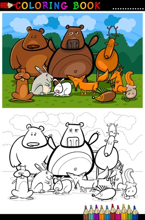 Cartoon Illustration of Funny Forest Wild Animals like Bears, Hedgehog, Deer, Hare and Fox for Coloring Book or Coloring Page Vector