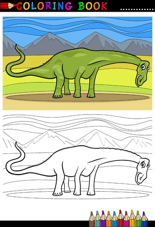 doomed: Cartoon Illustration of Diplodocus Dinosaur Reptile Species in Prehistoric World for Coloring Book and Education Illustration