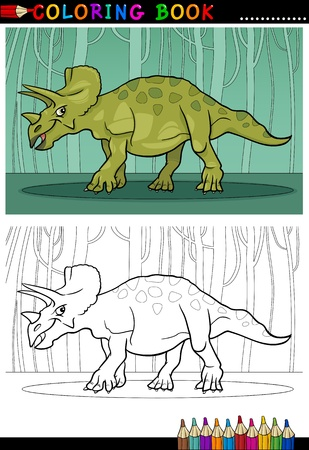 paleontology: Cartoon Illustration of Triceratops Dinosaur Reptile Species in Prehistoric World for Coloring Book and Education