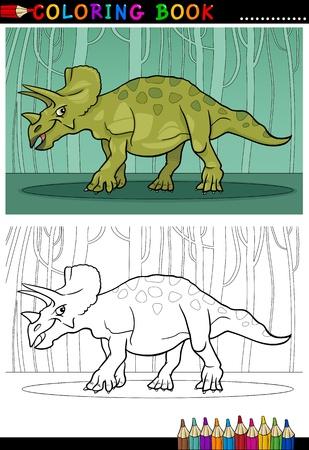 Ilustraci�n de dibujos animados de las especies de reptiles Dinosaurio Triceratops en el Mundo Prehist�rico de libro para colorear y Educaci�n Foto de archivo - 17560127