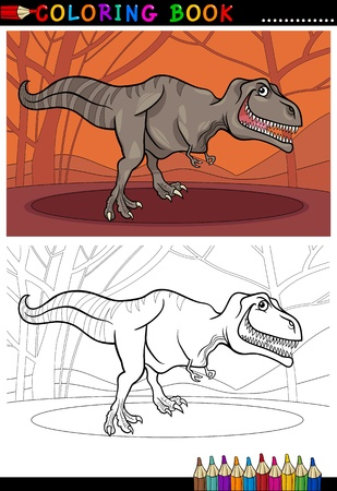 Cartoon Illustration of Tyrannosaurus Rex Dinosaur Reptile Species in Prehistoric World for Coloring Book and Education Vector