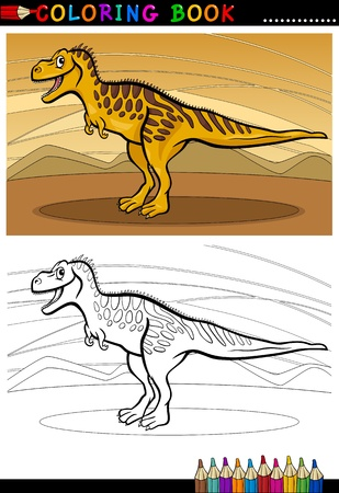 doomed: Cartoon Illustration of Tarbosaurus Dinosaur Reptile Species in Prehistoric World for Coloring Book and Education