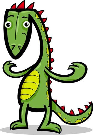Cartoon Illustration of Funny Green Lizard or Dinosaur or Fantasy Dragon  Stock Vector - 17560121
