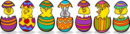 hatch: Cartoon Illustration of Six Little Yellow Chickens or Chicks and one Easter Bunny in Colorful Eggshells of Easter Eggs