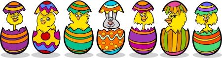 buona pasqua: Cartoon illustrazione di sei pulcini gialli o pulcini e un coniglietto di Pasqua in gusci d'uovo colorato di uova di Pasqua
