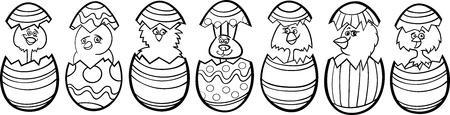 dibujos para colorear: Historieta blanco y negro Ilustraci�n de seis peque�os pollos o pollitos y un conejito de Pascua en c�scaras de huevo coloridos de los huevos de Pascua para colorear Libro