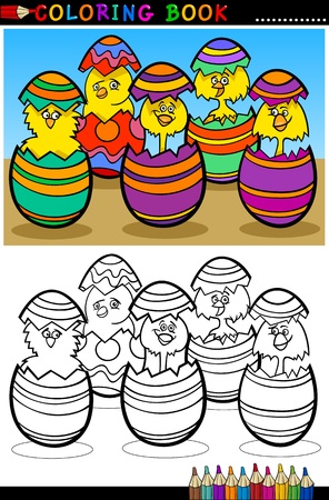 coloring book pages: Cartoon Illustration of Five Little Yellow Chickens or Chicks in Colorful Eggshells of Easter Eggs for Coloring Book