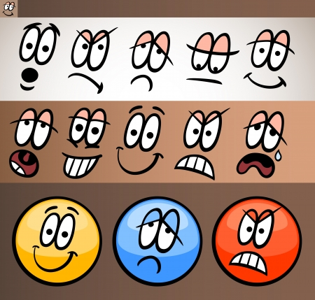 skeptic: Cartoon Illustration of Funny Emoticon or Emotions and Expressions like Sad, Happy, Angry or Skeptic Illustration