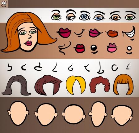 caricatura: Ejemplo de la historieta de Funny Face Mujer Elementos tales ojos, labios, nariz, Jefes y pelo de animación o de aplicaciones