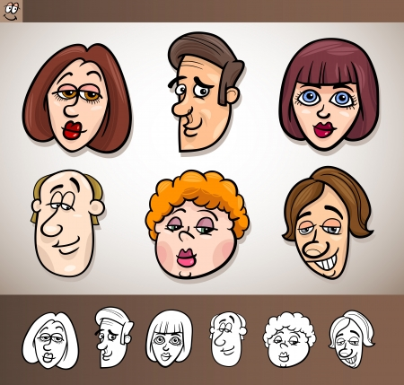 Cartoon Illustration of Funny People Set with Men and Women Heads plus Black and White versions Stock Vector - 17560134