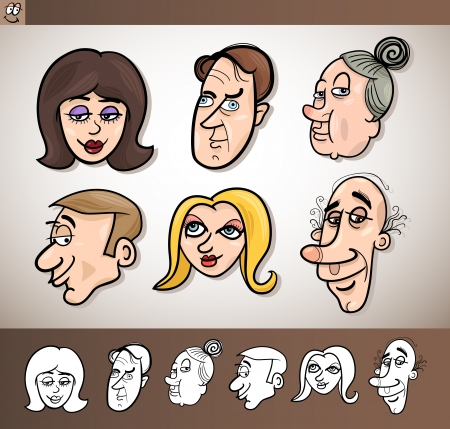 Cartoon Illustration of Funny People Set with Men and Women Heads plus Black and White versions Vector