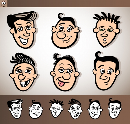 Cartoon Illustration of Funny People Set with Men Heads plus Black and White versions Stock Vector - 17560132
